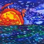"""13.09.2017 / Мастер-класс """"Закат на море (гуашь)"""" в Творческой студии. Автор работы: Макарова Анжелика (9 лет)"""