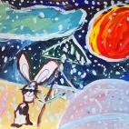 """23.09.2017 / Мастер-класс """"Зимняя ночь (гуашь)"""" в Творческой студии. Автор работы: Чернова Алиса (5 лет)"""