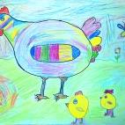 """11.10.2017 / """"Курочка с цыплятами"""" в Творческой студии. Автор работы: Мулгачёва Инна (7 лет)"""