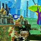 """02.12.2017 / Коллаж """"Деревня"""" в Творческой студии. Автор работы: Клемин Лев (8 лет)"""