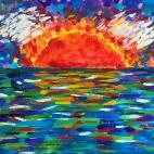 """21.08.18 / """"Закат на море"""". Работа выполнена в рамках единоразового матер-класса для взрослых"""