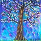 """26.08.2018 / """"Цветущее дерево"""" в Творческой студии. Автор работы: Фёдорова Алиса (8 лет)"""