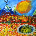 """09.11.2017 / Мастер-класс """"Осенний пейзаж с озером"""" в Библиотеке им. Лихачева"""